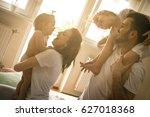 family spending free time at... | Shutterstock . vector #627018368