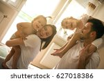 family spending free time at... | Shutterstock . vector #627018386