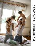 family spending free time at... | Shutterstock . vector #627019166