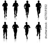 set of silhouettes runners on... | Shutterstock .eps vector #627019352