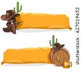vector cowboy billboards with... | Shutterstock .eps vector #627019652