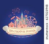 amusement park banner .carnival ... | Shutterstock .eps vector #627023948