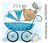 greeting card its a boy with... | Shutterstock .eps vector #627025592
