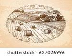field with haystacks.... | Shutterstock .eps vector #627026996