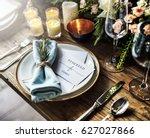 elegant restaurant table... | Shutterstock . vector #627027866
