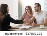 meeting with agent in office ... | Shutterstock . vector #627031226