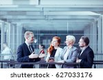 man presenting business offer... | Shutterstock . vector #627033176