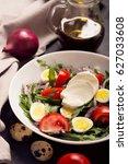 italian salad prepared with... | Shutterstock . vector #627033608