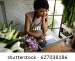 business of flower shop with... | Shutterstock . vector #627038186