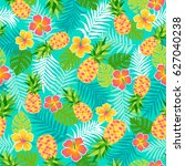 hibiscus  pineapple and... | Shutterstock .eps vector #627040238