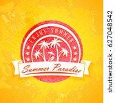 summer holidays poster.... | Shutterstock .eps vector #627048542