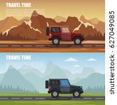 travel camper outdoor with... | Shutterstock .eps vector #627049085