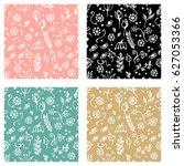 set of seamless vector patterns ... | Shutterstock .eps vector #627053366