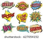 set of speech bubbles in retro... | Shutterstock .eps vector #627054152