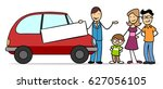cartoon of family with car... | Shutterstock . vector #627056105