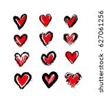 heart set red with black outline | Shutterstock .eps vector #627061256