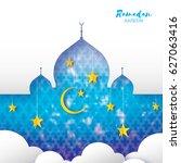 ramadan kareem. arabic window... | Shutterstock .eps vector #627063416