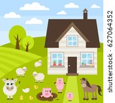 farm illustration with... | Shutterstock .eps vector #627064352