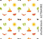 seamless pattern with sea beach ... | Shutterstock .eps vector #627064382