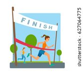 woman reaches finish  red... | Shutterstock .eps vector #627064775