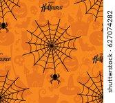 happy halloween seamless... | Shutterstock .eps vector #627074282