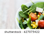 Small photo of healthy eating, food, dieting and vegetarian concept - close up of vegetable salad in bowl