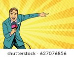 joyful tv reporter broadcasts... | Shutterstock .eps vector #627076856