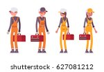 set of standing male and female ... | Shutterstock .eps vector #627081212