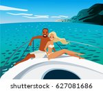 young beautiful couple in love...   Shutterstock .eps vector #627081686