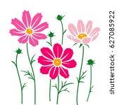 cosmos flower silhouette.... | Shutterstock .eps vector #627085922