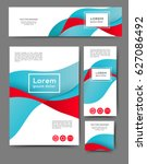 set of promotional flyers with... | Shutterstock .eps vector #627086492