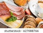 breakfast of coffee  juice ... | Shutterstock . vector #627088766
