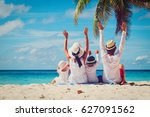 happy family with two kids... | Shutterstock . vector #627091562