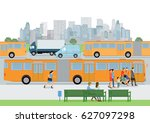 bus stop with bus and... | Shutterstock . vector #627097298
