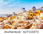skyline of oia  traditional... | Shutterstock . vector #627110372