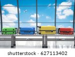 3d rendering colorful luggages... | Shutterstock . vector #627113402