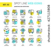 vector set of marketing and... | Shutterstock .eps vector #627115808