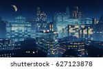 beautiful view of the night... | Shutterstock . vector #627123878