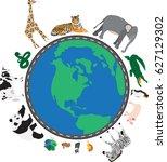around the world | Shutterstock .eps vector #627129302