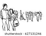 crowd walking ink sketch on... | Shutterstock . vector #627131246