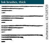 ink brushes  thick. 16 brushes... | Shutterstock .eps vector #627135725