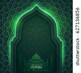 eid mubarak greeting card... | Shutterstock .eps vector #627136856