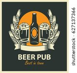 vector emblem for beer pub with ...   Shutterstock .eps vector #627137366