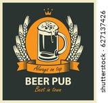 template vector beer pub label...   Shutterstock .eps vector #627137426