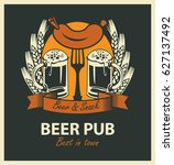 vector emblem for beer pub with ...   Shutterstock .eps vector #627137492