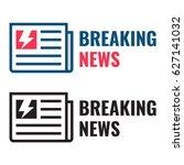 breaking news. newspaper icon...   Shutterstock .eps vector #627141032