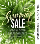 sale banner  poster with palm...   Shutterstock .eps vector #627141788
