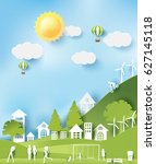 green eco city and life paper... | Shutterstock .eps vector #627145118