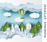 green eco city and life paper... | Shutterstock .eps vector #627145142