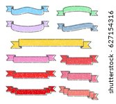 set of colorful stamp ribbons   ... | Shutterstock .eps vector #627154316